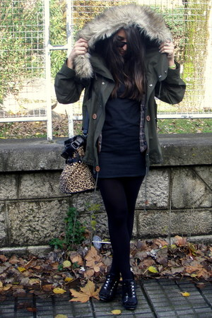 green Zara coat - black vintage dress - black Aldo shoes - dark brown Yesstyle b