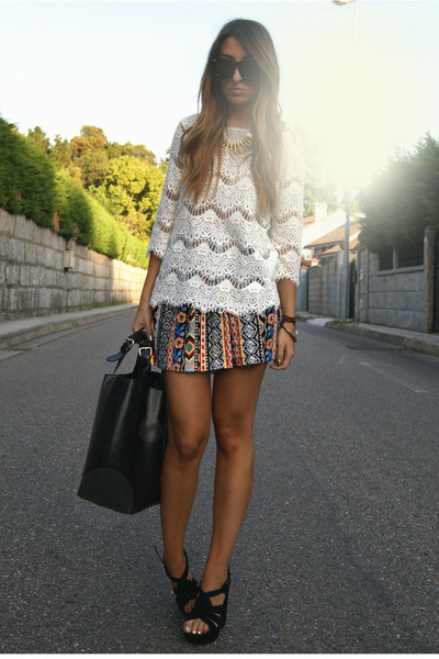 white crochet Zara top - black Zara shoes - black leather Zara bag