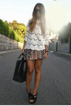 white crochet Zara top - black Zara shoes - black leather Zara bag