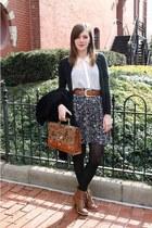 vintage skirt - ivory Forever 21 blouse - bronze vintage belt