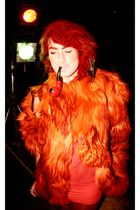 orange coat - red H&M dress