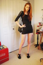 gray H&M dress - black Whats What shoes - black Nine West bag