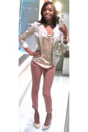 dark khaki H&M shirt - beige tailored blazer H&M blazer - salmon Zara pants