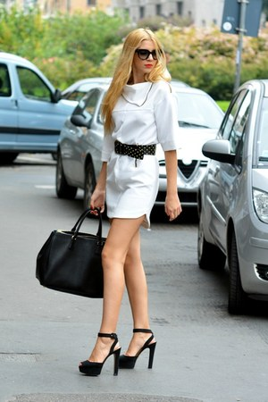 leather Prada bag - Zara dress - Prada sunglasses - leather Mango belt