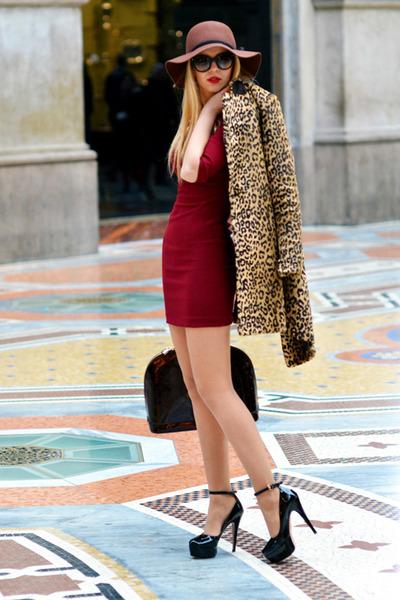 black Prada sunglasses - crimson Zara dress - camel Mango coat