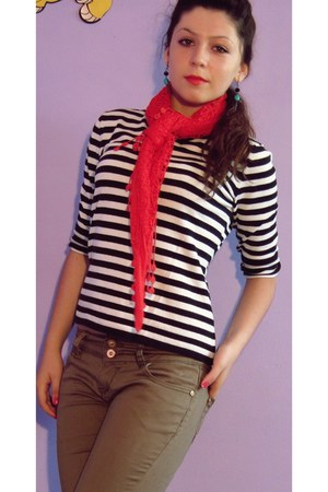 white blouse - black blouse - brown jeans - red scarf