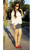 striped Urban Outfitters shorts - sheer banana republic blouse