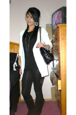 white Zara cardigan - black Max & Ginos shirt - Forever 21 leggings - black Urba