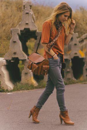 orange vintage jacket - gray H&M jeans