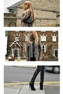 Gray-burberry-cardigan-black-kurt-geiger-boots-light-brown-zara-coat