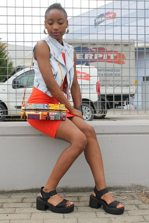 carrot orange asos dress - light blue Primark vest - black new look sandals
