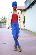 blue Primark hat - cream asos jacket - red Zara top