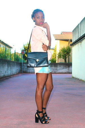 light blue H&M skirt - peach Topshop shirt - black Zara sandals