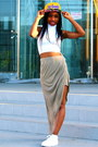 Yellow-river-island-hat-dark-khaki-asos-skirt-white-asos-top