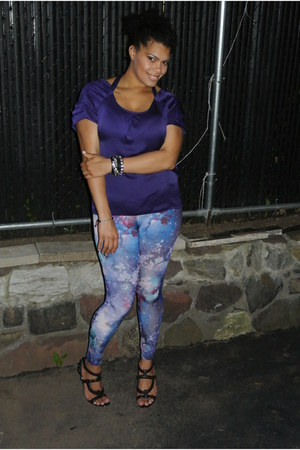 purple galaxy mandees leggings - deep purple tie back Gap top