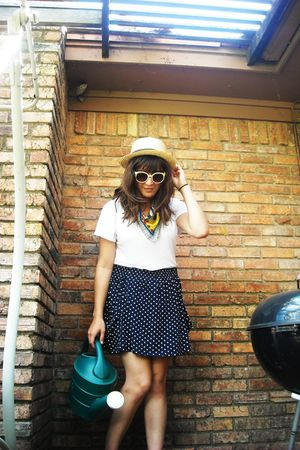 blue Zara skirt - white  shirt - beige f21 hat - red vintage accessories