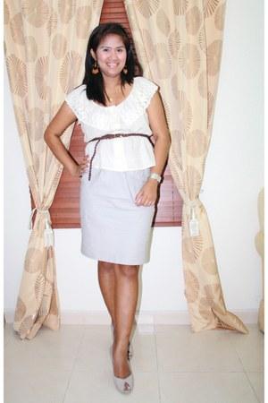 Forever 21 shirt - grey SM skirt - grey peep toes Nine West heels - brown Max be
