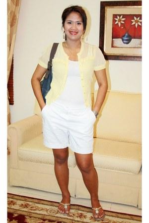 denim Esprit bag - Gap shorts - whote tank Koton top - jeanswest top