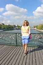 hot pink cambridge satchel co bag - sky blue banana republic dress