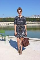 bronze thakoon dress - brown Minelli boots - dark brown Celine purse