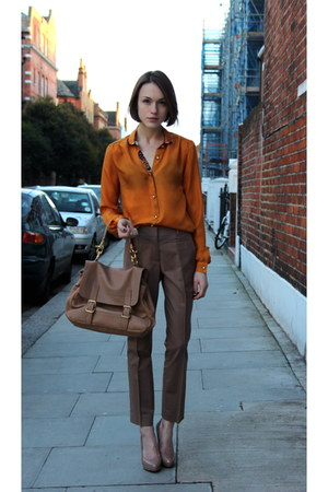 SANDRO bag - Mulberry shirt - Reiss pants - Aldo heels