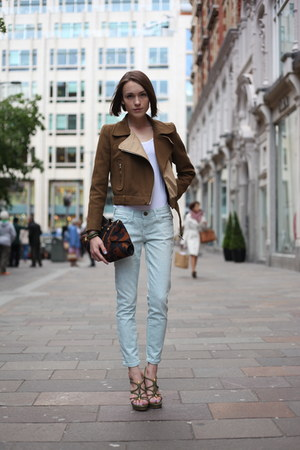 Carven jacket - Current Elliott jeans - Alexander McQueen bag