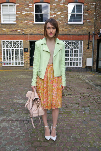 Carven skirt - Theory jacket - Mulberry bag - Anne Bowes Jewellery necklace