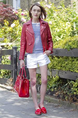 Club Monaco jacket - Lulu Guinness bag - JCrew shorts