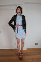 Topshop sandals - Reiss dress - All Saints jacket - galibardy ring - H&M belt