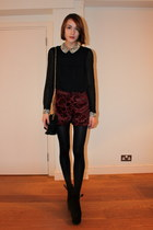 Topshop bag - Topshop shorts - whistles blouse - Topshop wedges