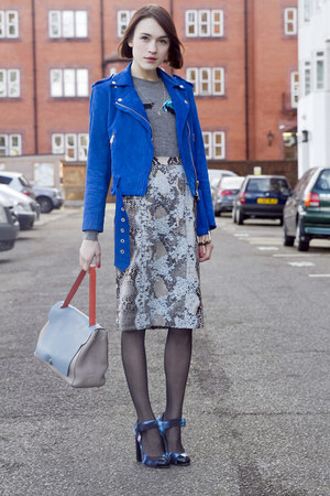 Club Monaco jacket - Anya Hindmarch bag - Erdem skirt - Nicholas Kirkwood heels
