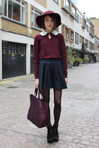 Jaeger London sweater - Uniqlo hat - Anya Hindmarch bag - Topshop skirt