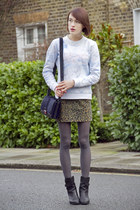 H&M skirt - rag & bone boots - Kurt Geiger bag - Kenzo sweatshirt