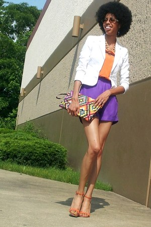 orange jumper - deep purple jumper - white blazer - aquamarine purse