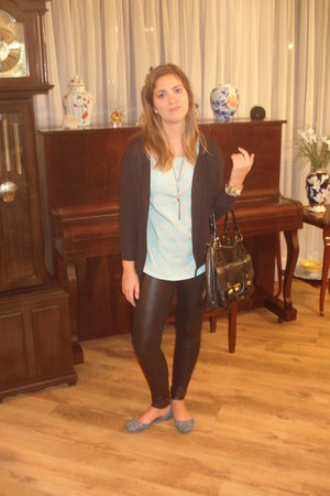 black coat - black leggings - aquamarine shirt - black bag - blue flats
