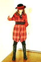 red Urban Outfitters dress - black Nine West boots - black HUE leggings - black