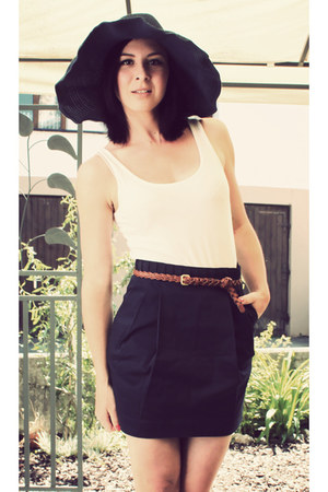 navy H&M hat - white H&M shirt - dark brown H&M belt - navy H&M skirt