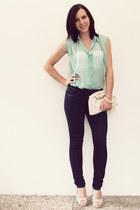 light blue noname blouse - navy H&M jeans - eggshell H&M bag