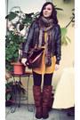 Mustard-h-m-dress-dark-brown-leather-jacket-pimkie-jacket