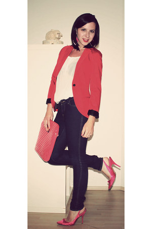 navy H&M jeans - red Bershka blazer - hot pink Bershka bag - white H&M blouse -