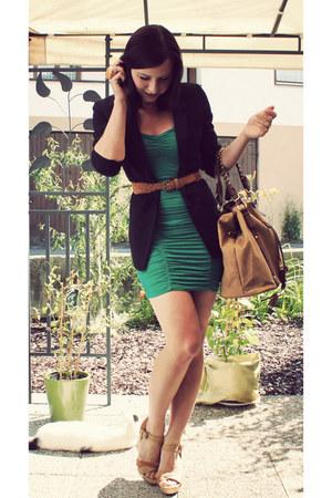 green H&M dress - black H&M blazer - nude H&M bag - nude Pimkie wedges - nude Ne