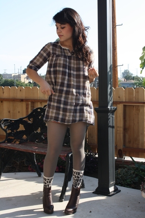Forever 21 top - H&amp;M socks - gifted tights - Jessica Simpson boots - Ross shorts