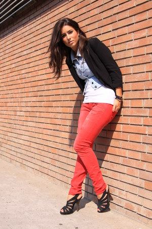 red met jeans - sky blue Pimkie jacket - black H&M blazer