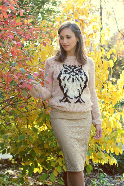 light pink sweater - beige skirt - sky blue earrings