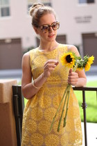 yellow fit and flare dress - round shades glasses