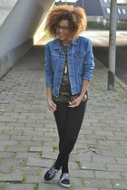 teal denim Wrangler jacket - dark green camo C& shirt - black Vans sneakers