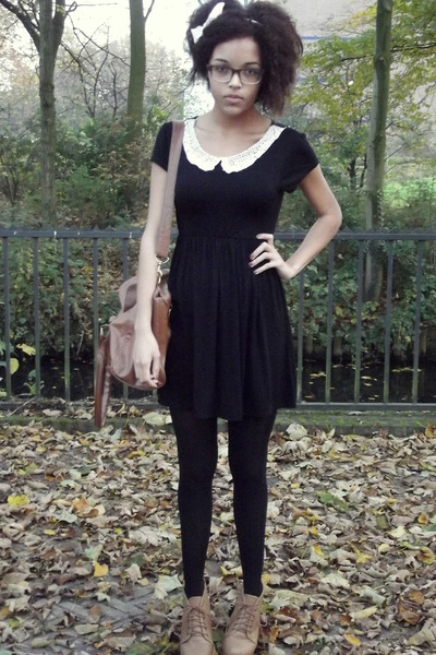 lace new look dress - fake leather Primark bag - Ebay pumps