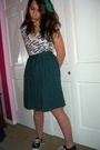 White-american-apparel-shirt-green-vintage-skirt-black-keds-shoes