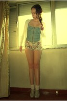 floral Zara shorts - eggshell Majoma shoes - light pink Calzedonia socks