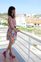 carrot orange flower details Zara skirt - hot pink Zara pumps - salmon Zara top